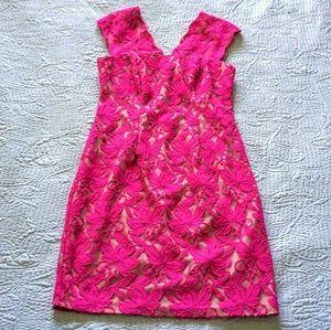 Donna Ricco pink lace midi dress